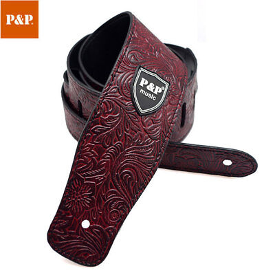 PU Leather Outdoor Floral Adjustable Guitar Bass Electric Belt Travel Strap Band