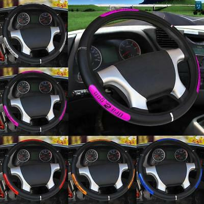 1PC Luxury Auto Car Steering Wheel Cover PU Leather Car Cover SILVER