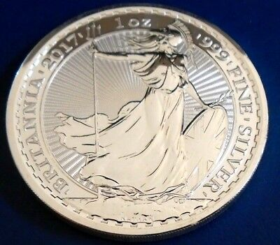 2017 Two Pound Britannia, 1 troy ounce of silver + capsule - top grade