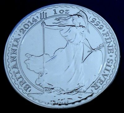 2014 Two Pound Britannia, 1 troy ounce of silver + capsule - top grade
