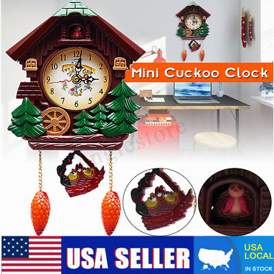 2018 Vintage Wood Cuckoo Clock Forest House Swing Wall Alarm Art Handcraft Decor