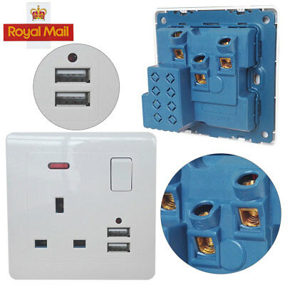 Single 13A 1 Gang Switched Mains UK Plug Socket with 2.1A FAST USB Ports  2PCS