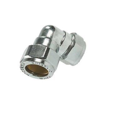 CHROME PLATED COMPRESSION ELBOW FITTING 8,10,12,15,22,28,35,42,54mm