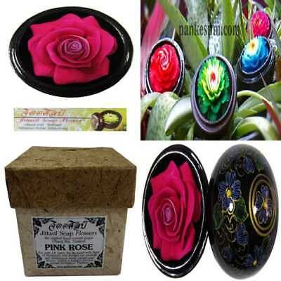 """Jittasil Thai Hand Carved Soap Flower 4"""" Scented Carving Gift Set PINK ROSE In D"""