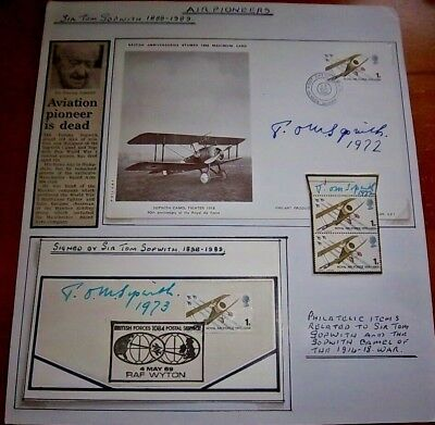 Unique  - Collection Of Sir Tom Sopwith Signed Items See Scans