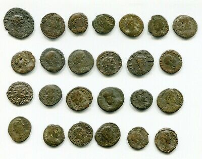 Lot of 25 Actual Cleaned Roman coins from Late Roman Empire between 300-400 AD B