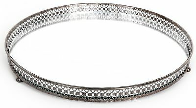 Silver Effect Mirror Tealight Candle Plate Tray 25Cm