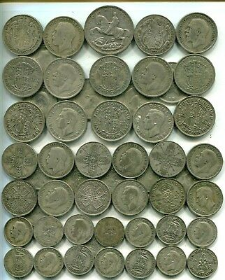CROWN TO SHILLINGS: £5 of pre 1947, 8.92 tr oz pure silver equivalent, different