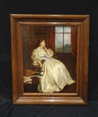 Large 19th Century English Lady Portrait White Silk Dress Antique Oil Painting