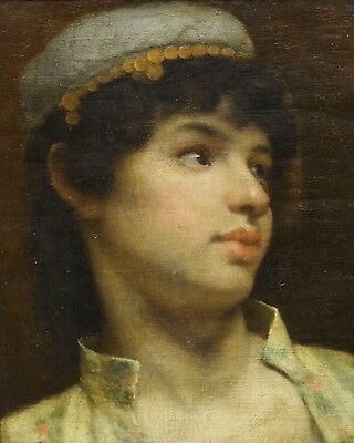 19th Century Orientalist Boy Gold Hat Portrait Antique Théodore Jacques RALLI