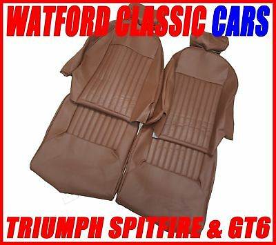 Triumph Spitfire 1972 on Seat Covers Brown Vinyl with headrest covers PAIR