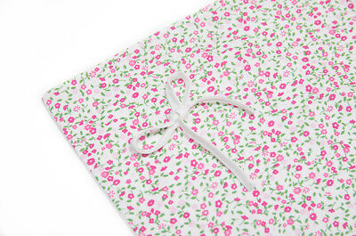 Duvet and Pillow Case Baby Bedding Set. Cot/cot Bed. White with Pink Flowers