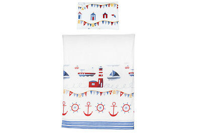 Duvet and Pillow Case Baby Bedding Set. Cot/cot Bed. White with Ships and Anchor