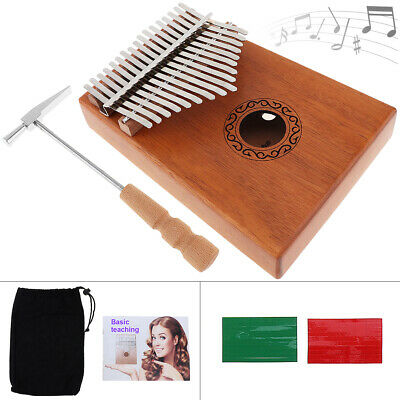 17 Keys Kalimba Single Board Mahogany Thumb Piano Mini Mbira Keyboard Kids Gift