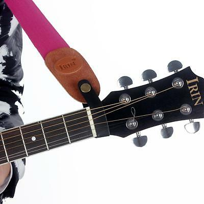 Adjustable Leather Bass Acoustic Electric Guitar Strap Holder Button Safe Lock