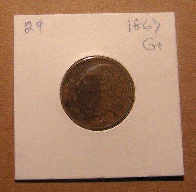 United States Vintage Two 2 Cent 1867 Coin Piece Post Civil War Money US Coins