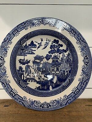 """Churchill Blue Willow Pasta Bowl Serving Dish 11"""" Made in Staffordshire England"""