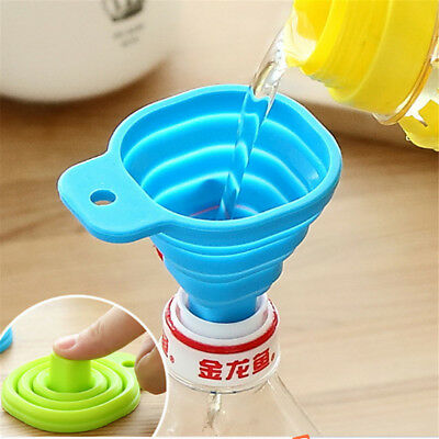 2018 Hot Kitchen Home Mini Food Grade Silicone Folding Telescopic Funnel Blue Y