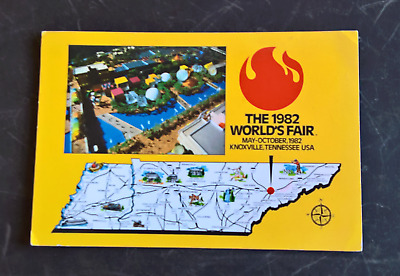 1982 World's Fair Knoxville TN  Aerial View & Map  Vintage Postcard  PP2