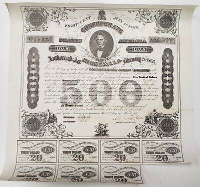 1863 $500 Confederate States Of America Bond, W/ 7 $20 Coupons, Cr124, Xf