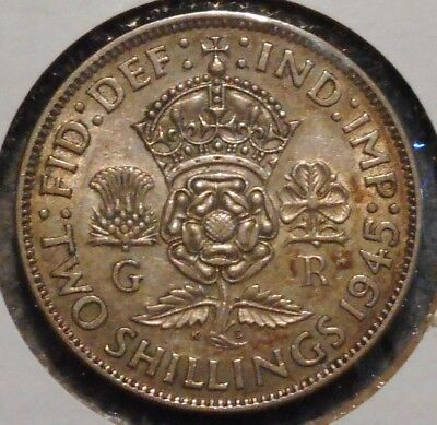 British Florin - 1945 - King George VI - $1 Unlimited Shipping -17