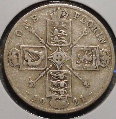 British Florin - 1921 - King George V - $1 Unlimited Shipping -02