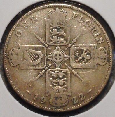 British Florin - 1922 - King George V - $1 Unlimited Shipping -06
