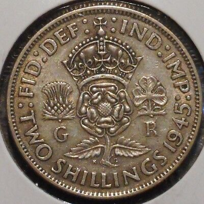 British Florin - 1945 - King George VI - $1 Unlimited Shipping -18