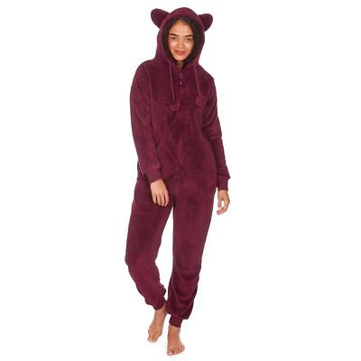 0d33a07d03 Womens Ladies All In One Snuggle Fleece Jumpsuit Pyjamas Burgundy Size 12 14