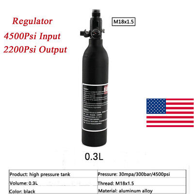 PCP Paintball 4500Psi Aluminum Tank 0.3L Air Cylinder With 2200Psi Regulator US
