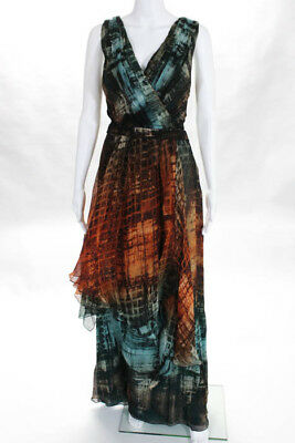 77aced8877f Carlos Miele Black Blue Orange Silk Abstract Zip Up V Neck Maxi Dress Size  44