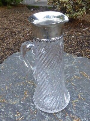 "Vintage Tiffany & Co. Sterling Mounted ""Zipper  Cut"" Large Crystal Pitcher"