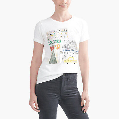 16ac0e2ae4bc NWT Women J Crew Factory New York Winter Collector T-shirt Ivory Tee XS S M  L