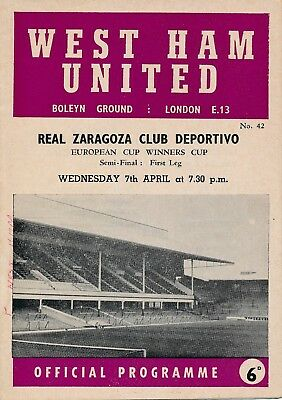 CUP WINNERS CUP SEMI FINAL 1965 West Ham v Real Zaragoza - team changes