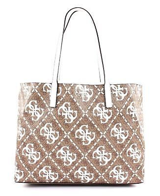 Large Tote Weiß Multi Vikky Tasche White Braun Guess