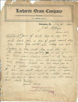 1914 letter Lacharite Grain Company letterhead from Assumption, IL Illinois