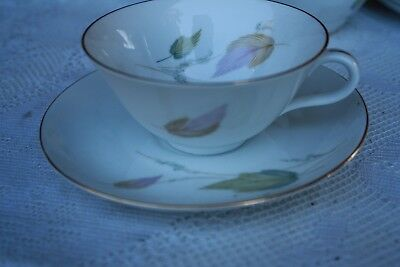 Eschenbach Bavaria, Baronet Cup & Saucer pattern Janice, Gold Rimmed HTF Leaves