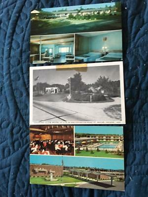 3 roadside postcards, motels, gas station, Ft. Wayne IN, Joliet IL, Concord NH