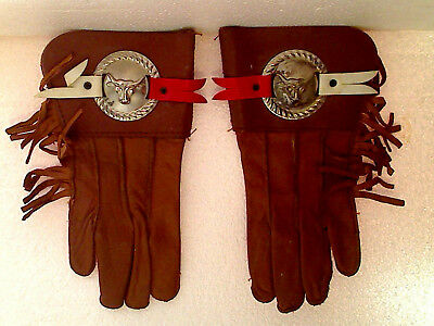 Vintage 1950's-60's Kid's Western Cowboy Real Leather Concho Style Gloves Small