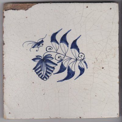 Delft Tile c. 18th / 19th century   (D 16)      Flower and insect