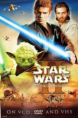 """STAR WARS II  """"ATTACK OF THE CLONES"""" MOVIE DVD POSTER - Characters In Action"""