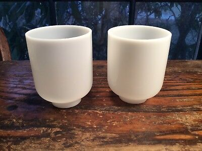 Two Vintage Art Deco White Shades-for Porcelain Bathroom Wall Sconces c1930s