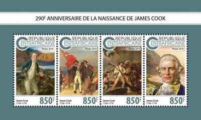 Central Africa - 2018 Captain James Cook - 4 Stamp Sheet - CA18806a