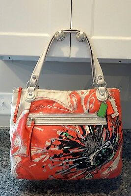 Coach Poppy Placed Flower Purse Handbag Tote F19027 8900 Picclick