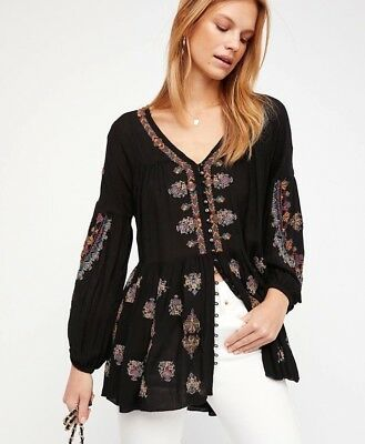 7097cbfb587a6 NWT Free People The Arianna Embroidered Tunic Shirt Dress Top Black XS S M L