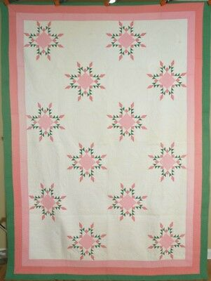 WELL QUILTED Vintage 30's Feathered Star Snowflake Antique Quilt ~GREAT COLORS!