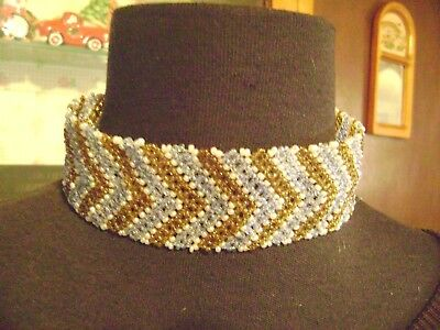 """Vintage Glass Seed Beaded Wide 15"""" Lenth Blue,white,golden Brown Choker/necklace"""