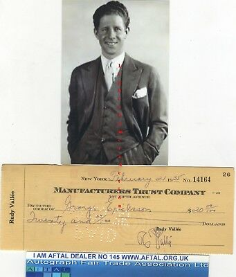 Rudy Vallée vintage signed Bank Cheque / Check AFTAL#145