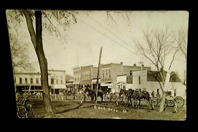 1908,live Scene At East Side Square,greenfield,iowa,real Photo