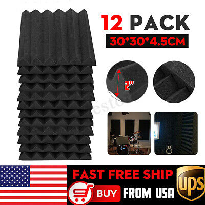 12 Pack Acoustic Wall Foam Panels Wedge Sound Proofing Tiles Studio Decor Sponge